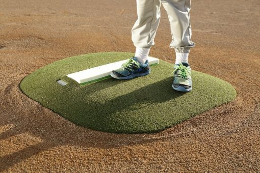 "Portable Pitching Mound | 4"" Outdoor Economy Portable Mound With Green Astroturf CloseUp"