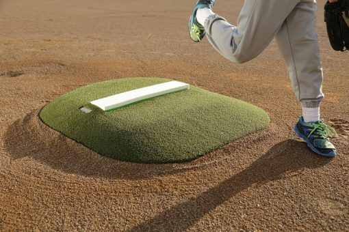 "Portable Pitching Mound |4"" Outdoor Portable Mound With Green Astroturf Shown At Foot Strike"