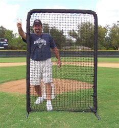 Mini 6' x 4' Front Toss Screen With Padding Showing Coach