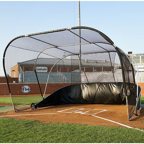 Big Bubba Batting Cage Rolling Baseball Turtle Rolling Batting Cage FrontSide View | Includes FREE 56' Ricochet Cushion & Team Color