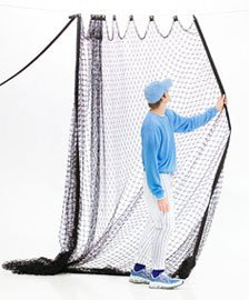 zip net baseball hitting net shown with player sliding net in position