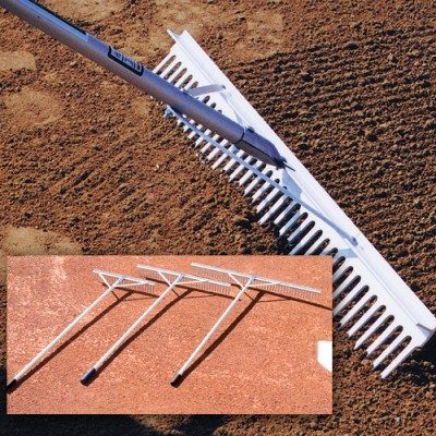 "Aluminum Baseball Rake with Leveling Side - 24"", 36"", 48""-0"