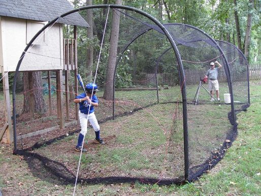 Xtender Batting Cage With Batter Shown From Rear Side View
