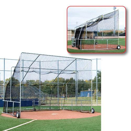 Basic Baseball Turtle Rolling Outdoor Batting Cage Front & Side Views