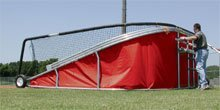 Big Bubba Batting Cage Baseball Turtle With Red Team Color Skirt In Side Folded View