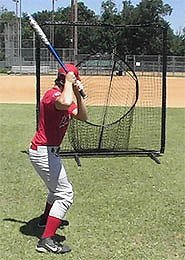 Nylon Sock Net catch Net Shown From Behind Batter