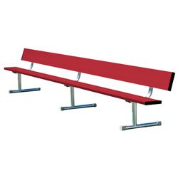 Team Bench With Back Shown In Team Color Red & Optional Portable Mount