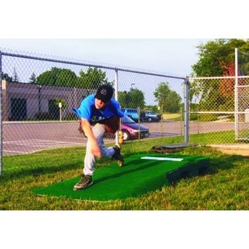 "10"" Outdoor Portable Pitching Mound Showing Pitcher At Follow Through 