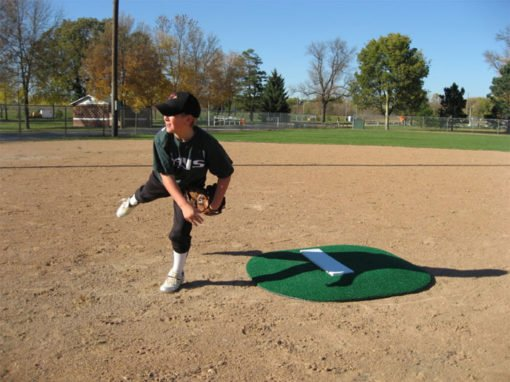 "4"" Full Sized Portable Game Mound Showing Pitchers Follow Through"