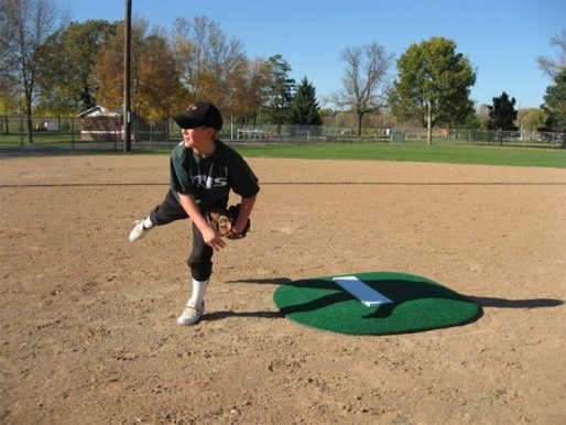 """4"""" Full Sized Portable Game Mound Showing Pitchers Follow Through"""