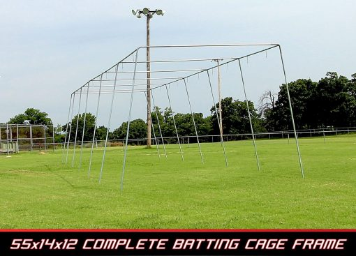 Basic 55 Ft. Pro Style Batting Cage Frame | End View