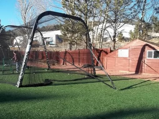 batco collapsible batting cage in outdoor mode showing end stake