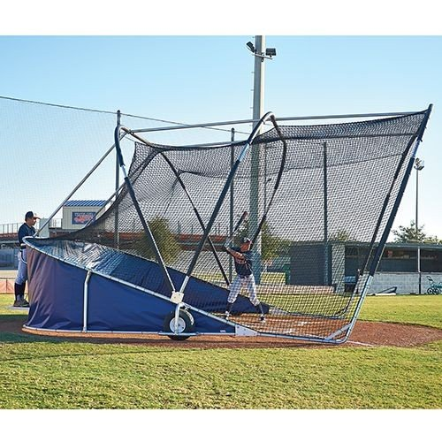 big bubba & bubba elite batting cage rolling baseball turtle side view of batter & coach on platform