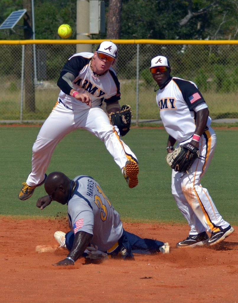 playing well under pressure showing shortstop relay to 1st base over top of baserunner