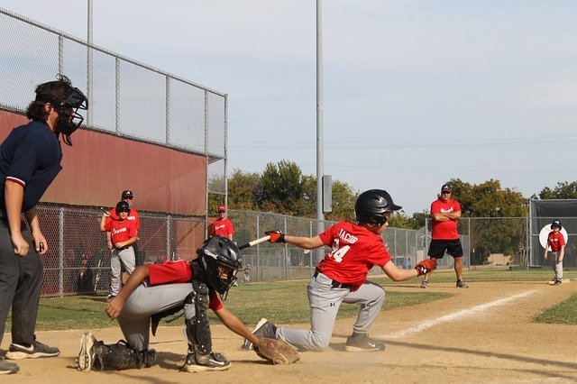 baseball swing and a miss