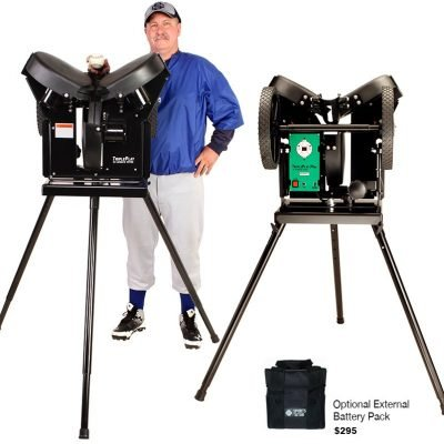 Triple Play Basic Pitching Machine & External Battery Pack - Baseball Pitching Machine