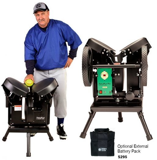 Triple Play Plus Softball Pitching Machine With Optional External Battery Pack