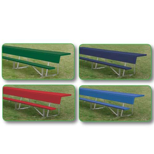 Aluminum Team Bench With Top Shelf Shown In 4 Team Colors