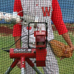 Heater Xtender Batting Cage Harness Shown With Heater Pitching Machine