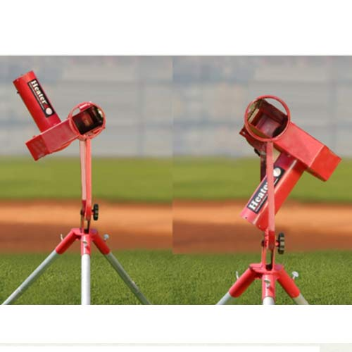 Heater Curveball Pro Baseball Pitching Machine | Shown In 2 Curveball Positions