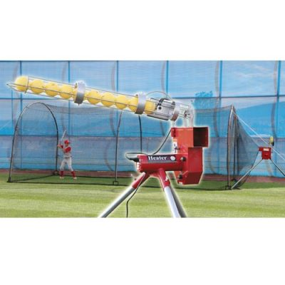 Original Heater Baseball Pitching Machine & Xtender Backyard Batting Cage