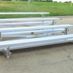 Low Rise Bleachers - Shown With Standard Single Foot Boards   Front View   Made In USA Series