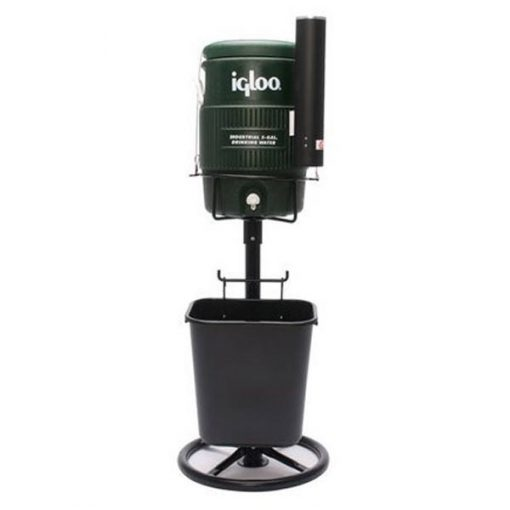 Black Tidi-Cooler Stand & Basket with Optional 5 Gallon Green Cooler (cup dispenser not included)