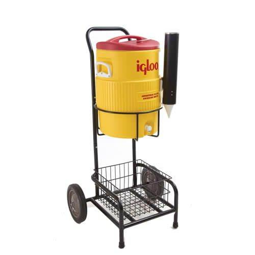 team chilled water cooler cart & igloo cooler with Included cup dispenser