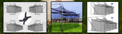 Deluxe Team Batting Cages In 55 & 70 Ft. Length Plus Angle Bracing