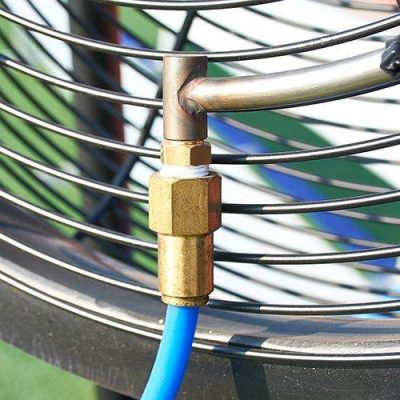 Sports Cooling Misting Station Showing Hose Connection