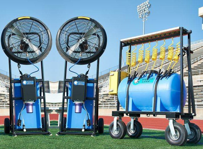 Sports Hydration System 3 Pc. Team Sports Rechargeable Hydration Tanker & Portable Cooling Fan & Misting Station Package