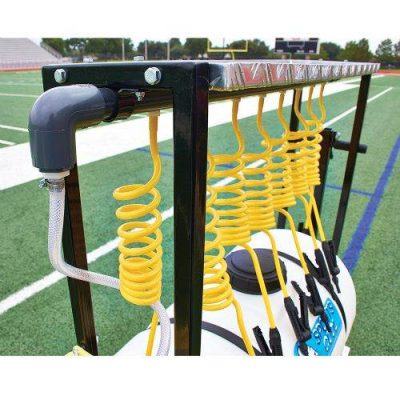 8 player rolling team sports hydration station showing hoses and nozzles