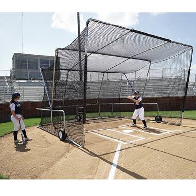 Baseball Turtle Rolling Batting Cage FrontSide View |Includes 18'Free Ricochet Cushion-baseball batting cage