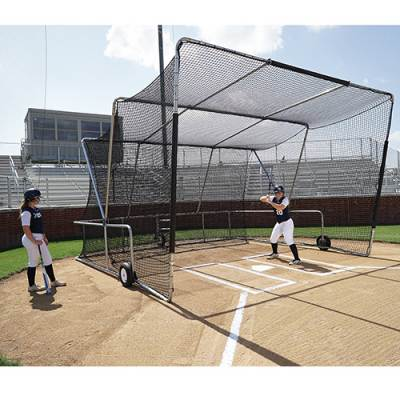 Baseball Turtle Rolling Batting Cage FrontSide View |Includes 18'Free Ricochet Cushion