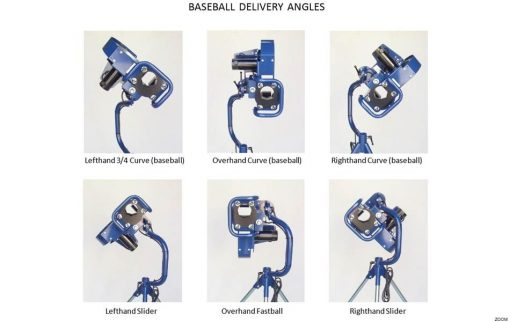 Bata 1 Curveball Pitching Machine Showing Baseball Curveball Delivery Positions