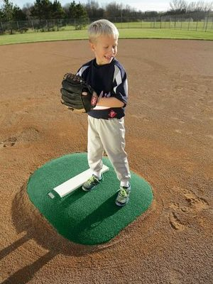 4 Inch Economy Portable Mound Green Astroturf & Real Pitching Rubber