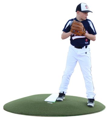 6 Inch Tall Stride Off Portable Pitching Mound In Green Astroturf Cover | Sideview