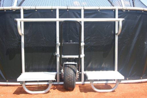 ProCage Rolling Baseball Turtle | Pro Padded Model Rear View Closeup Of Coaching Platforms