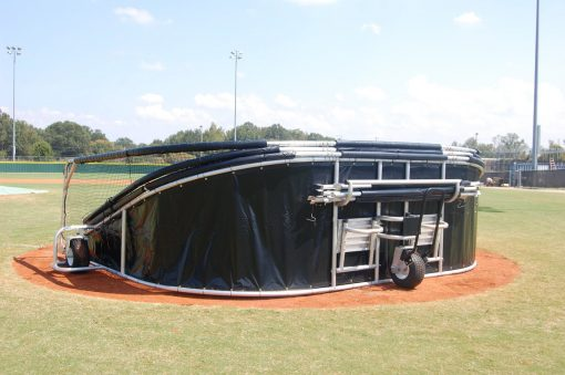 Rolling Baseball Turtle Batting Turtle | Portable Batting Cage | Folded Transport View