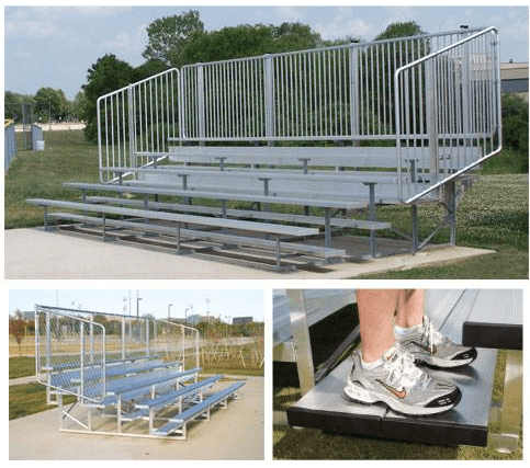 Aluminum Bleachers With Verticle Picket Guardrail System