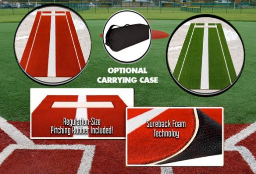 softball pitching mats in clay and green turf
