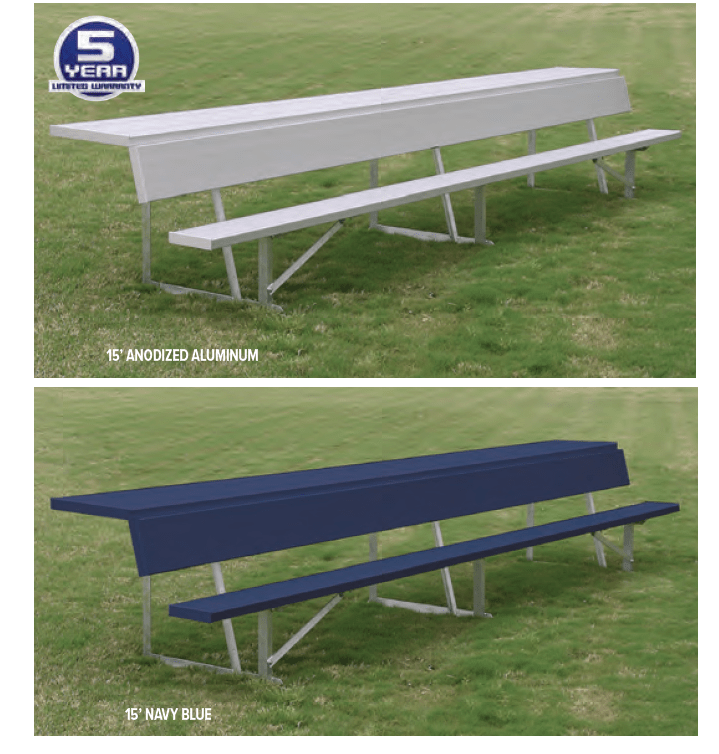Team Bench With Top Shelf Shown In Natural Aluminum & Navy Team Color