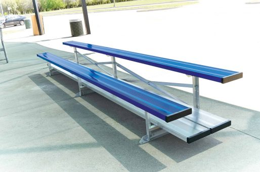 small aluminum bleachers In 2 row and double foot board| shown in royal blue team color