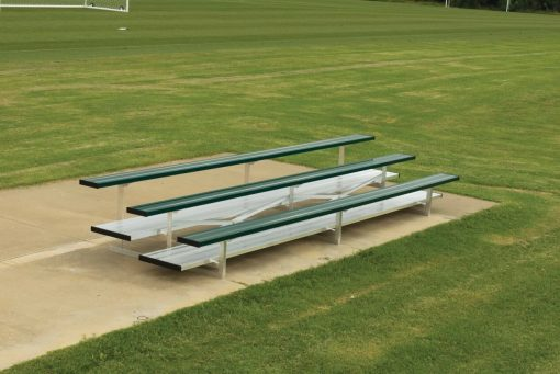 aluminum bleachers in 3 row and double foot boards in forest green team color