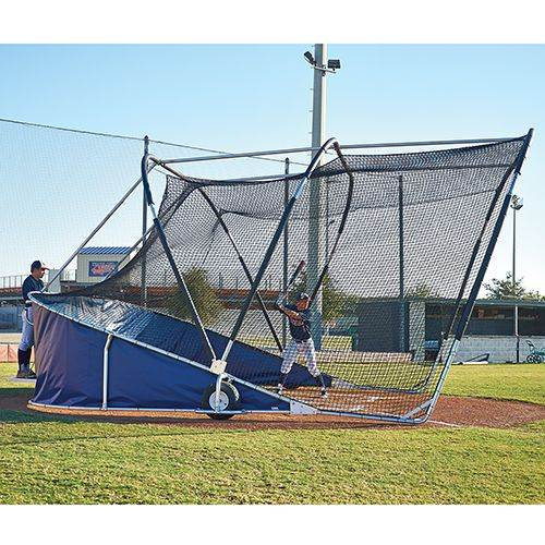 bubba elite side view with coach & batter - batting cage