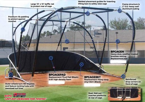 roll away baseball turtle portable baseball backstop showing features