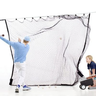 zip net baseball hitting net shown with player hitting