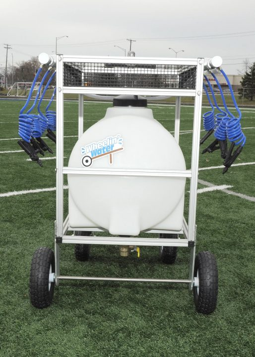 35 gallon water wagon hydration cart with 8 hoses rear view