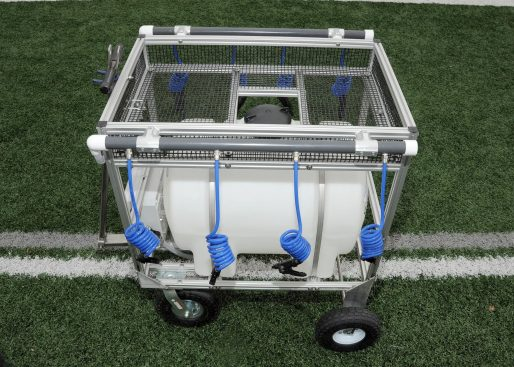 35 gallon water wagon hydration cart with 8 hoses overhead