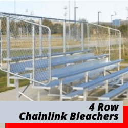 4 Row Bleachers With Chain Link Safety Fence